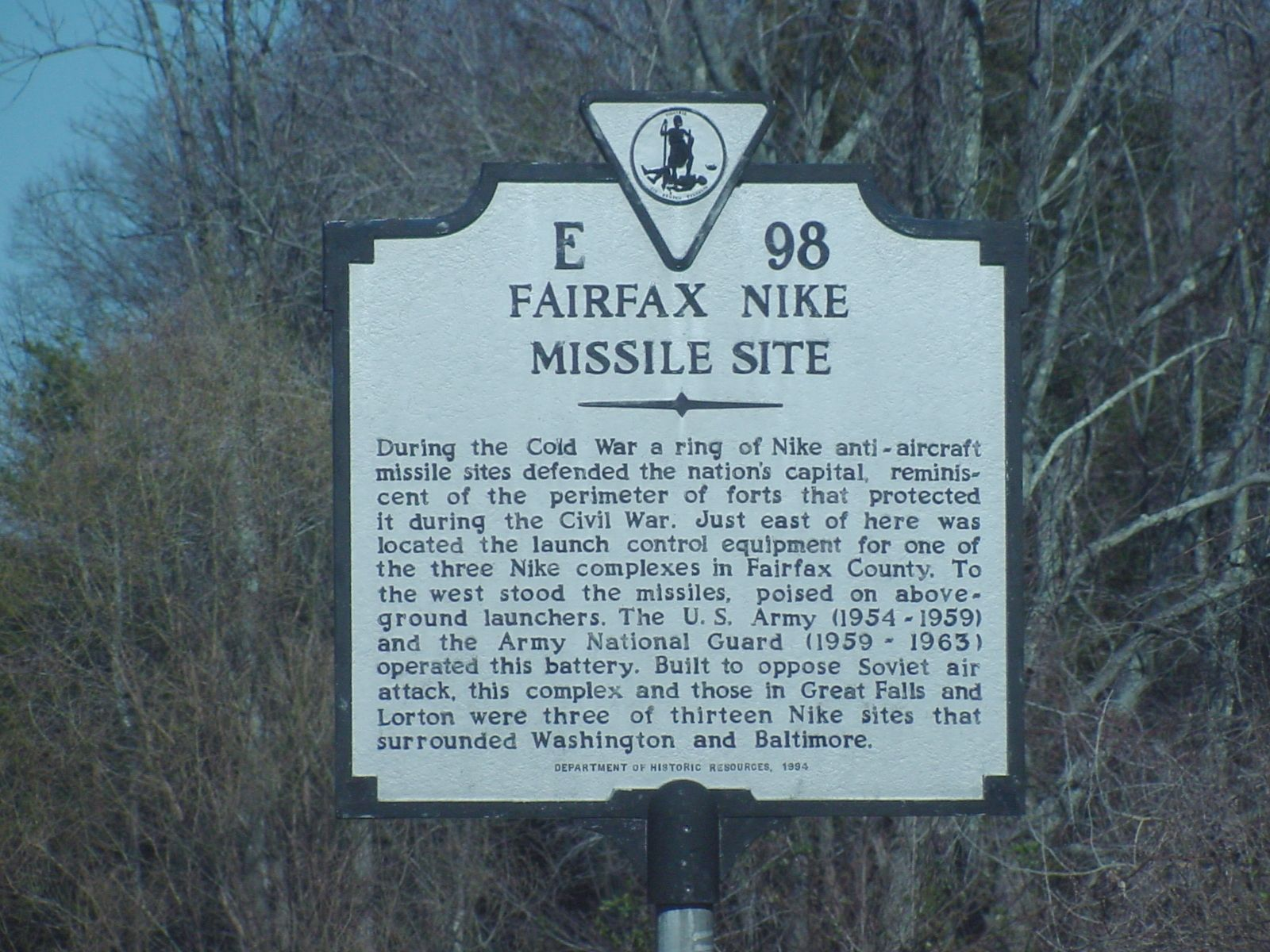 Fairfax Nike Missile Site Marker by J. J. Prats on HMDB.org (reproduced under Fair Use)