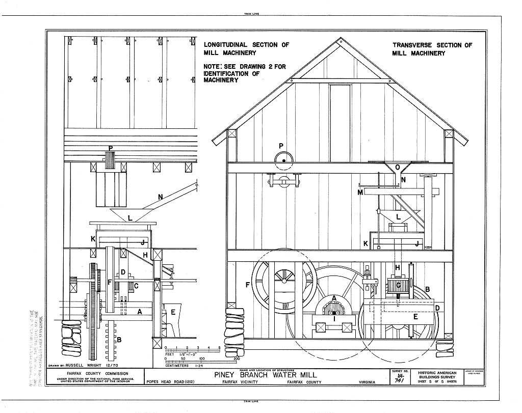 HABS Drawing, Section of Interior with Mill Machinery, Piney Branch, 1970