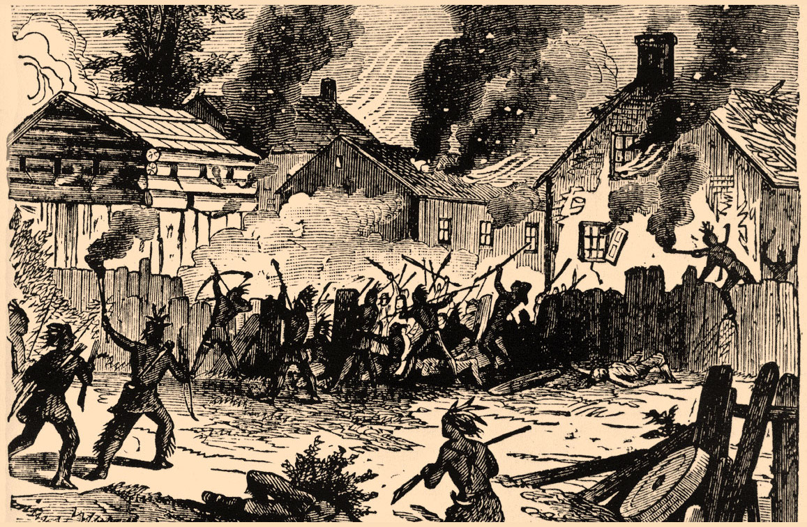 A sketch portraying the Indian Raid on the town of Brookfield, MA