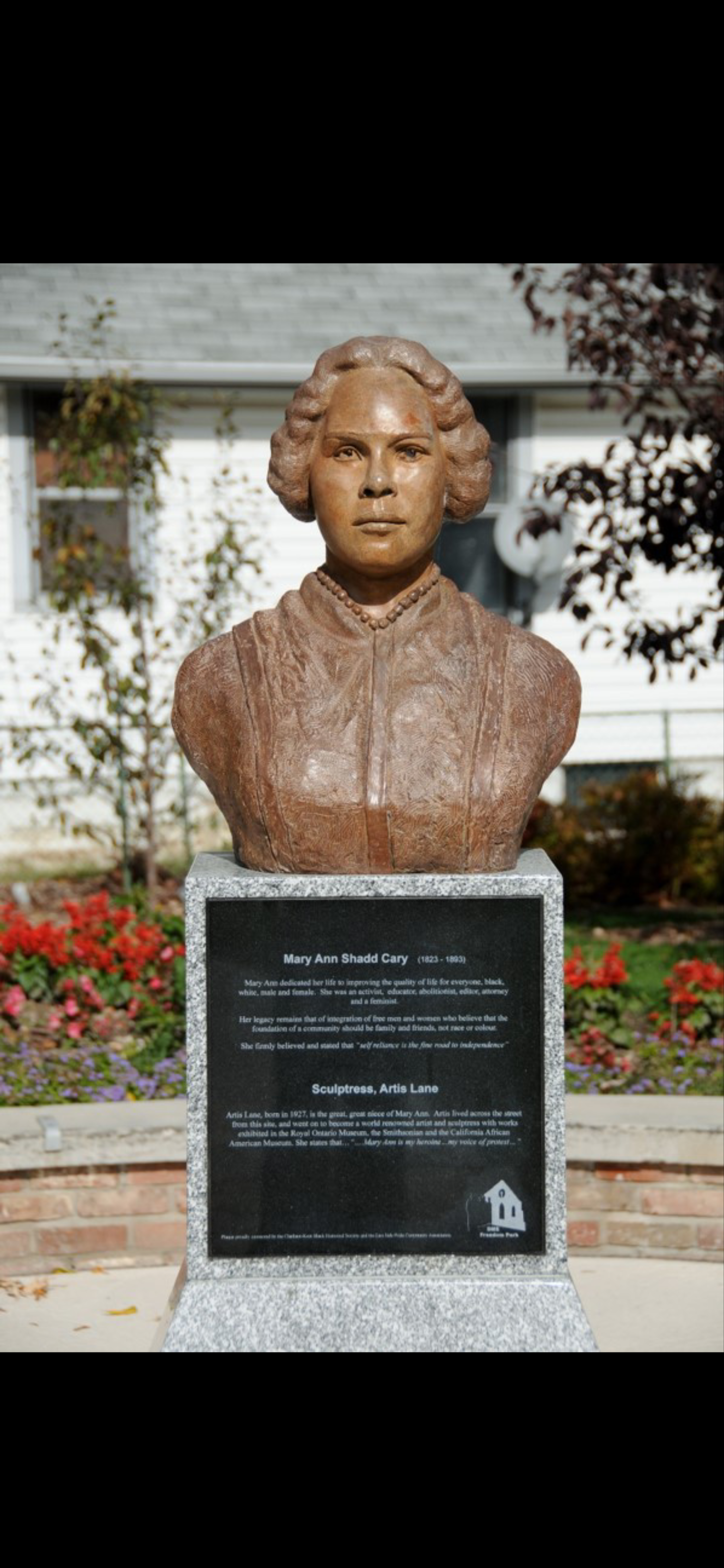 """Depicted in both images in the Freedom Park historical landmark is Mary Shadd. The park was the original site for the BME Church, a gathering place for abolitionists, including Shadd. Her message for the movement, as inscribed on the placard, was to """"improve the quality of life for everyone."""""""