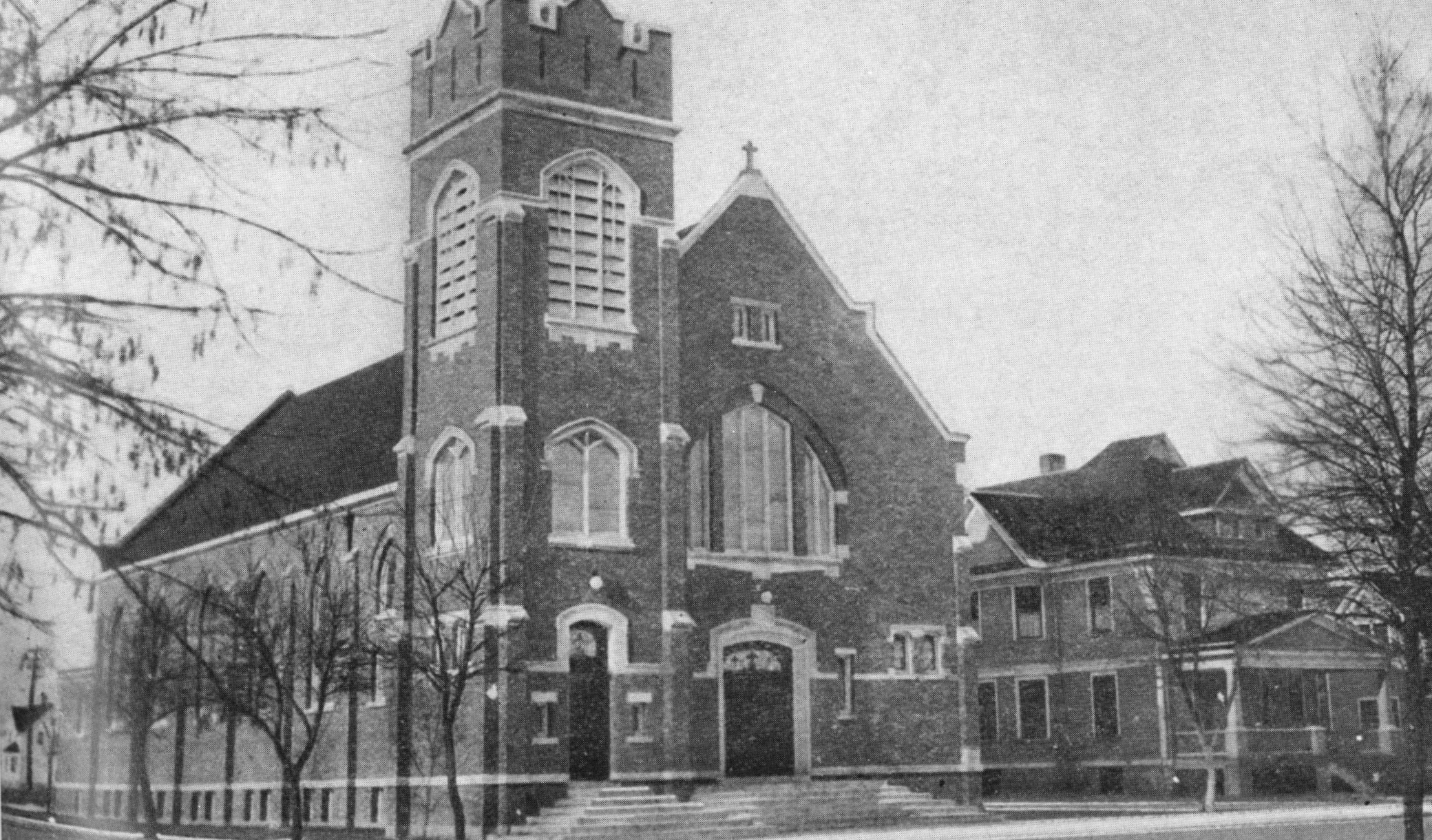 The brick church which opened in 1915.