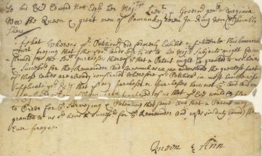 Signature of Ann, ca. 1705 petition of the Queen and the great men of Pamunkey town, in Colonial Papers Collection, Library of Virginia.