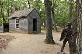 A replica of Thoreau's cabin at Walden Pond.
