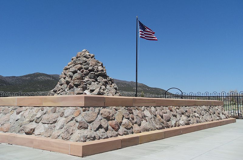 One of the three memorials at the site. This one was erected in 1999.