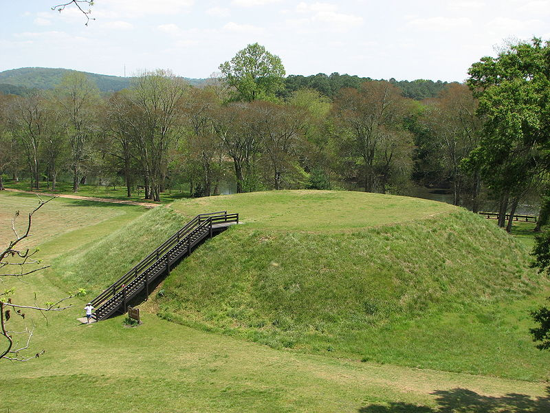Etowah Indian Mounds Historic State Park features ancient Indian mounds dating to 1000-1500 A.D.