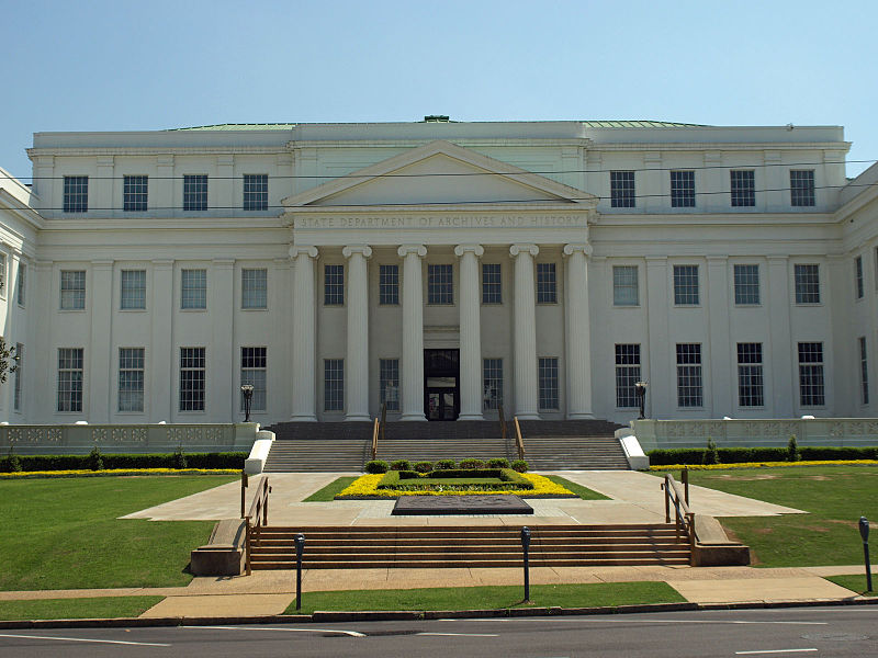 The Alabama Department of Archives and History was built in 1940 and added wings in 1970 and 2005.