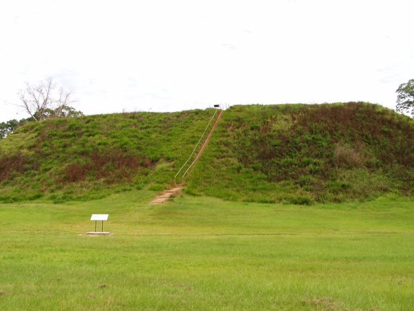 Georgia's oldest great temple mound, standing 57 feet high, dominates two smaller burial mounds and several ceremonial mounds.