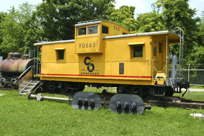 A caboose on display at the Outdoor Railroad Museum.