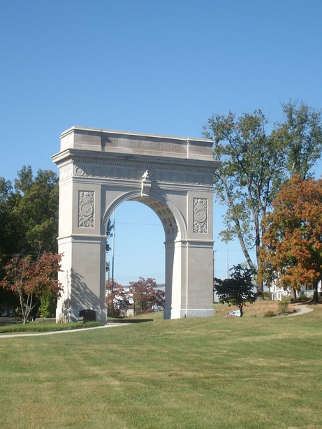 The Memorial Arch is in a small park that hosts patriotic celebrations as well as weddings and baseball