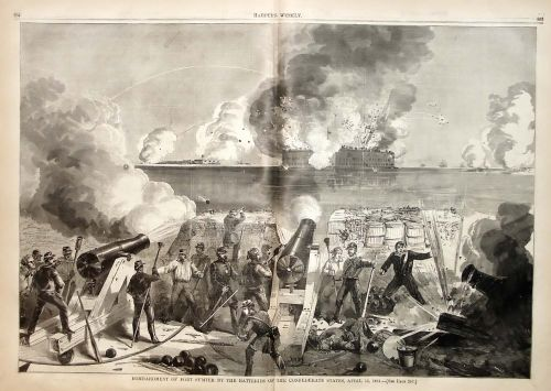 Historic Print of the bombardment of Fort Sumter by South Carolina militiamen and cadets from the Citadel, the Military College of South Carolina