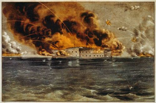 Historic print of Fort Sumter being bombarded