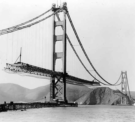 Construction works on the Golden Gate bridge - photo taken somewhere between 1933 and 1937.