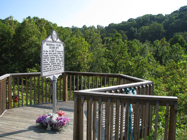 This historical marker overlooks the site of the plane crash that took the lives of seventy-five players, coaches, fans, and flight crew.