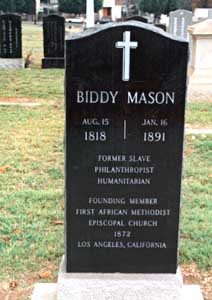 This grave marker honors the iconic African-American Angeleno Bridget Mason