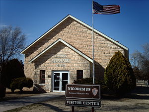 Township Hall now serves as the Visitors Center of the Nicodemus National Historic Site.