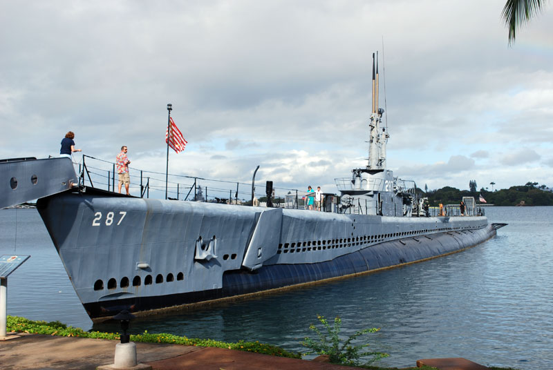 The USS Bowfin at her present berth in Hawaii. The submarine has been docked there since 1980.