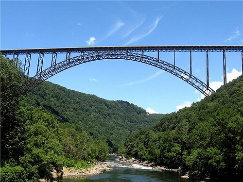 View of the bridge from the bottom of the New River Gorge.