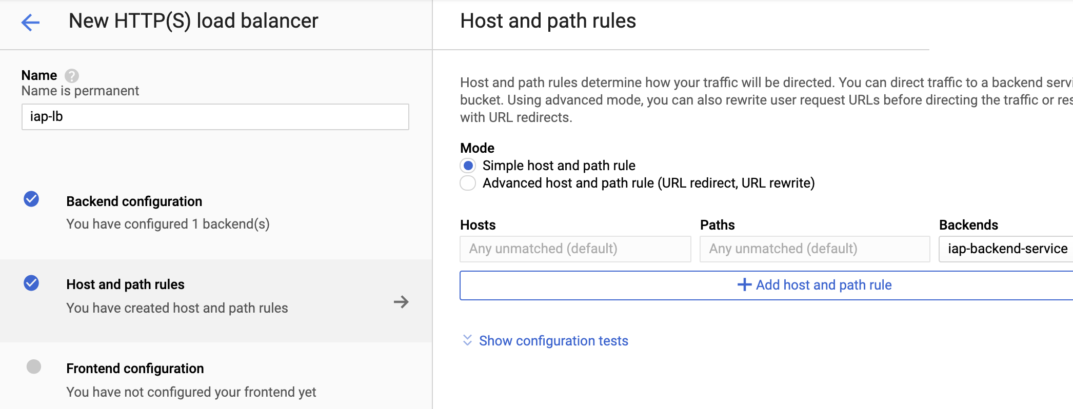 Host and path rules 保持預設
