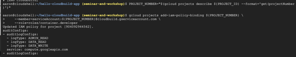 grant permissions to Cloud Build service account