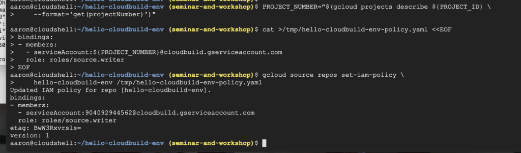 grant Source Repository Writer role Cloud Build service account