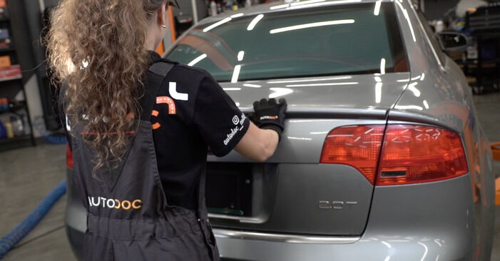 Så lång tid tar det att byta Skyltbelysning på Audi A4 B7 Sedan 2007 – informativ PDF-manual