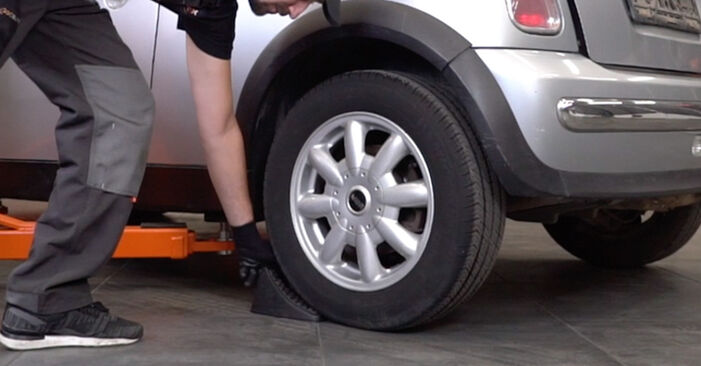 How to replace MINI Hatchback (R50, R53) 1.6 Cooper 2002 Brake Pads - step-by-step manuals and video guides