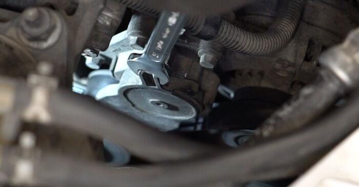 Jaké náročné to je, pokud to budete chtít udělat sami: Klinovy zebrovany remen výměna na autě Ford Focus mk2 Sedan 1.4 2011 - stáhněte si ilustrovaný návod