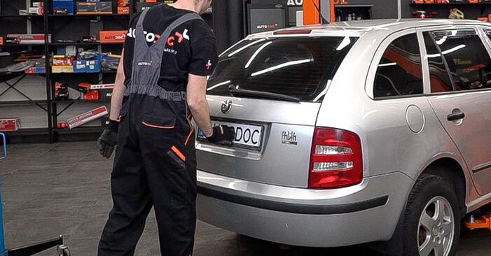 Hvor lang tid tager en udskiftning: Bagklapsdæmper på Skoda Fabia 6y5 2007 - informativ PDF-manual