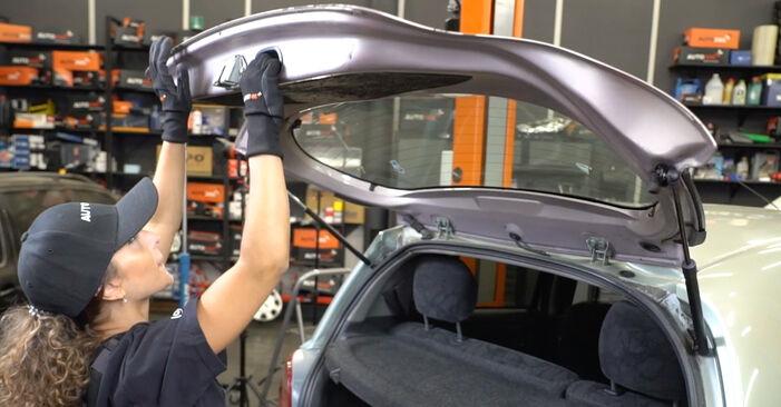 Αντικαθιστώντας μόνοι σας Αμορτισέρ Πορτ Μπαγκαζ στο Toyota Yaris p1 2002 1.0 (SCP10_)