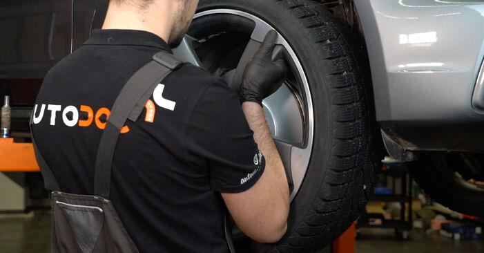 Wie man AUDI A4 Limousine (8K2, B8) 2.0 TDI 2008 Bremsscheiben wechselt - Schritt-für-Schritt-Leitfäden und Video-Tutorials
