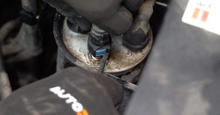 Cât de greu este să o faceți singur: înlocuirea Filtru combustibil la VW T5 Van 1.9 TDI 2009 - descărcați ghidul ilustrat