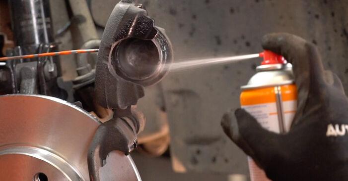 Vaiheittaiset suositukset Fiat Punto 188 2012 1.9 JTD -auton Jarrupalat-osien tee se itse -vaihtoon