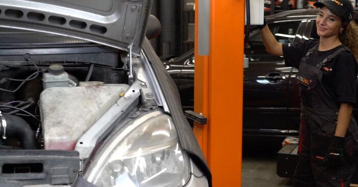 Bremsbeläge Mercedes W168 A 160 1.6 (168.033, 168.133) 1999 wechseln: Kostenlose Reparaturhandbücher