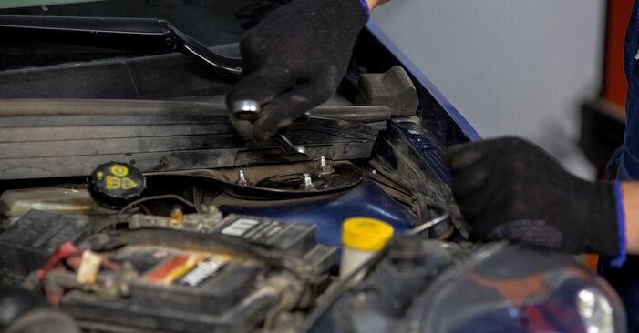 Come sostituire FORD Fiesta Mk5 Hatchback (JH1, JD1, JH3, JD3) 1.4 TDCi 2002 Supporto Ammortizzatore - manuali passo passo e video guide