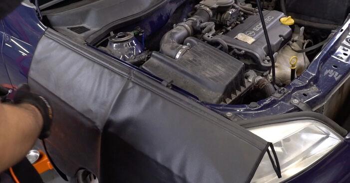 Wie Motorlager OPEL Astra G CC (T98) 1.6 (F08, F48) 1999 austauschen - Schrittweise Handbücher und Videoanleitungen
