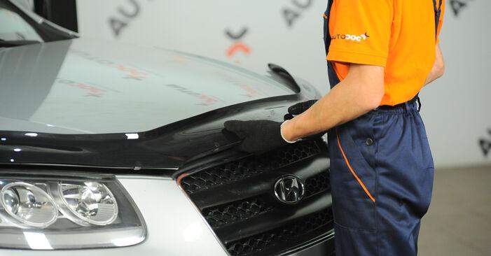 Hvordan skifte Bremseskiver på Hyundai Santa Fe cm 2005 – gratis PDF- og videoveiledninger