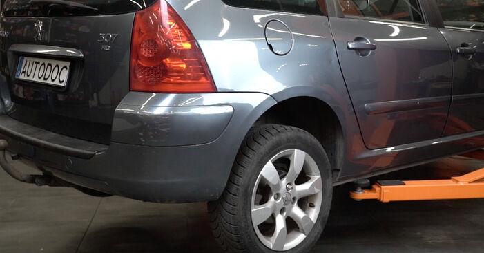 Substituição de Peugeot 307 SW 1.6 16V 2004 Amortecedor: manuais gratuitos de oficina