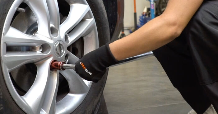 How to replace Brake Pads on NISSAN Qashqai / Qashqai +2 I (J10, NJ10) 2011: download PDF manuals and video instructions