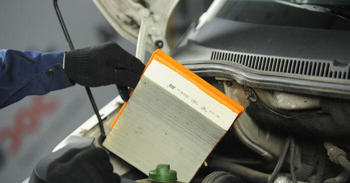 VW MULTIVAN 2010 Luchtfilter stap voor stap instructies voor vervanging