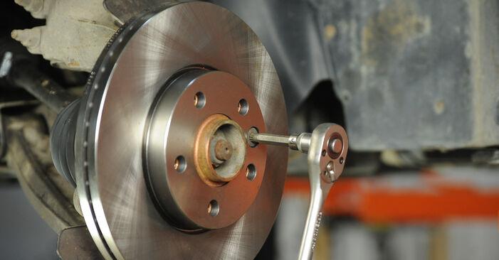 Kaip pakeisti Stabdžių diskas VW Multivan V (7HM, 7HN, 7HF, 7EF, 7EM, 7EN) 2008: atsisiųskite PDF instrukciją ir vaizdo pamokas