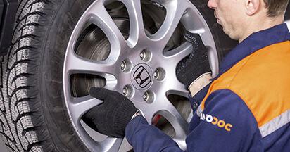 Wie Bremsscheiben HONDA CR-V III (RE) 2.0 i 4WD (RE5) 2007 austauschen - Schrittweise Handbücher und Videoanleitungen