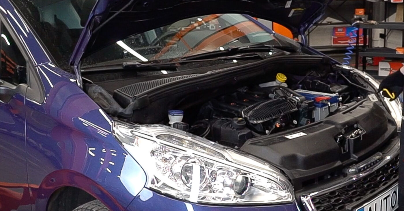 Πώς να αλλάξετε Τακάκια Φρένων σε Peugeot 208 1 2012 - δωρεάν εγχειρίδια PDF και βίντεο οδηγιών