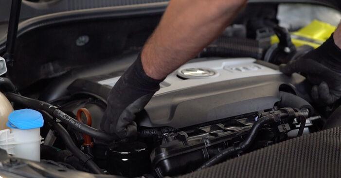 Kuinka vaihtaa VW GOLF VI (5K1) 1.6 TDI 2004 -auton Öljynsuodatin – vaiheittaiset ohjekirjat ja video-oppaat