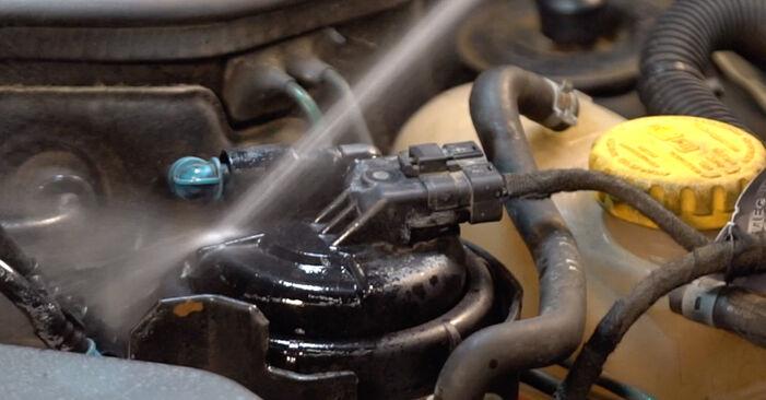 Kā nomainīt OPEL Corsa C Hatchback (X01) 1.2 (F08, F68) 2001 Degvielas filtrs - pakāpeniskās rokasgrāmatas un video ceļveži