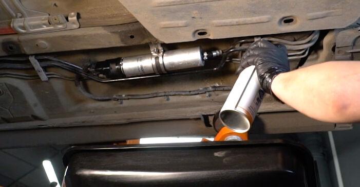 Wie man BMW 5 Limousine (E60) 530d 3.0 2002 Kraftstofffilter austauscht - Schritt-für-Schritt-Tutorials und Videoanleitungen