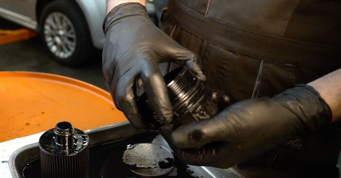 How to replace FIAT GRANDE PUNTO (199) 1.3 D Multijet 2009 Oil Filter - step-by-step manuals and video guides
