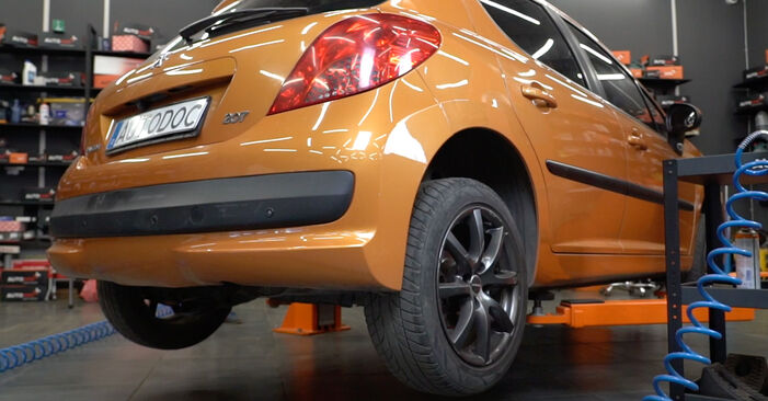 How to replace PEUGEOT 207 (WA_, WC_) 1.4 HDi 2007 Shock Absorber - step-by-step manuals and video guides