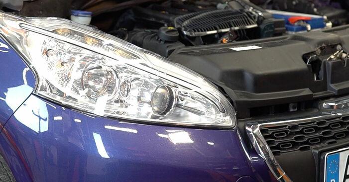Hvordan man udskifter Bremseskiver på PEUGEOT 208 I Hatchback (CA_, CC_) 2017: hent PDF manualer og video instruktioner