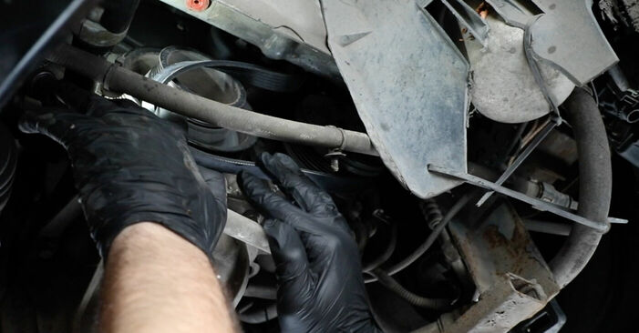 Replacing Poly V-Belt on Ford Fiesta V jh jd 2001 1.4 TDCi by yourself