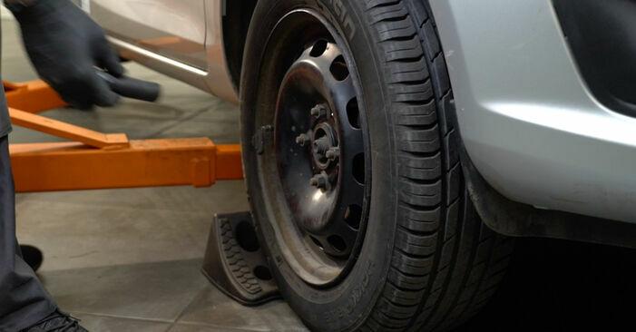 Wie Bremsscheiben FORD Fiesta Mk6 Schrägheck (JA8, JR8) 1.4 TDCi 2009 austauschen - Schrittweise Handbücher und Videoanleitungen